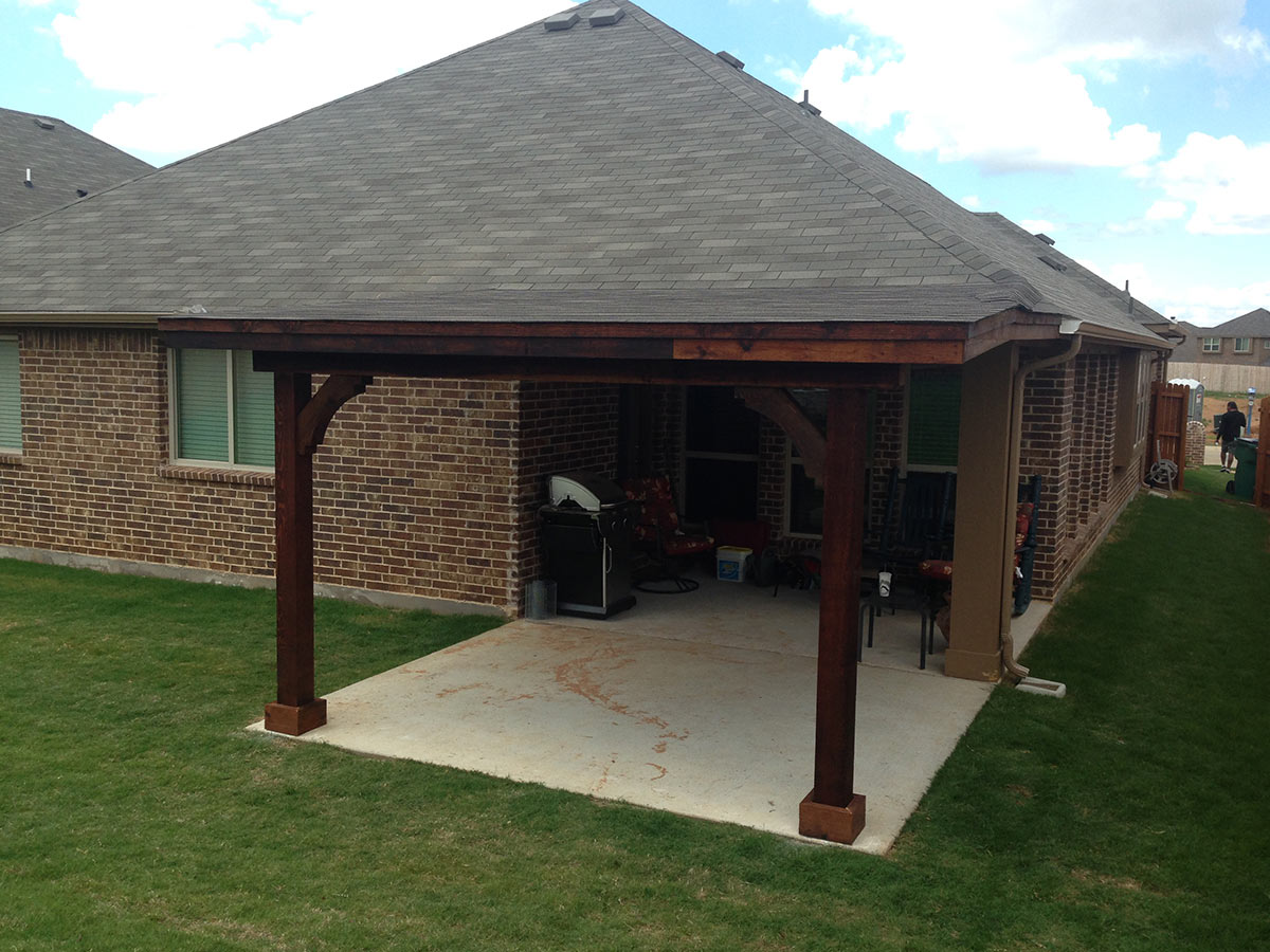 Attached Shed Roof Patio Cover In Aubrey Texas