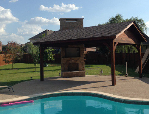 Frisco Patio Cover: Poolside With Fireplace