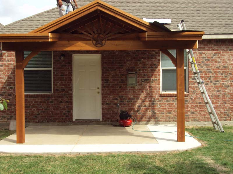 Charming Small Starburst Patio Cover With Gable