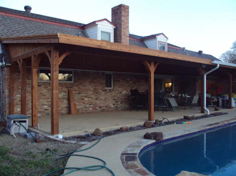 Poolside Patio Cover Attached To Roof