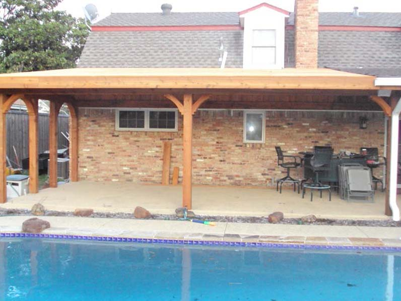 Large Poolside Patio Cover Attached To Roof