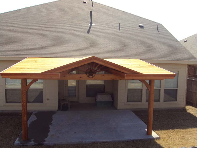 Lovely Patio Cover With Starburst, Gable, Attached To Fascia