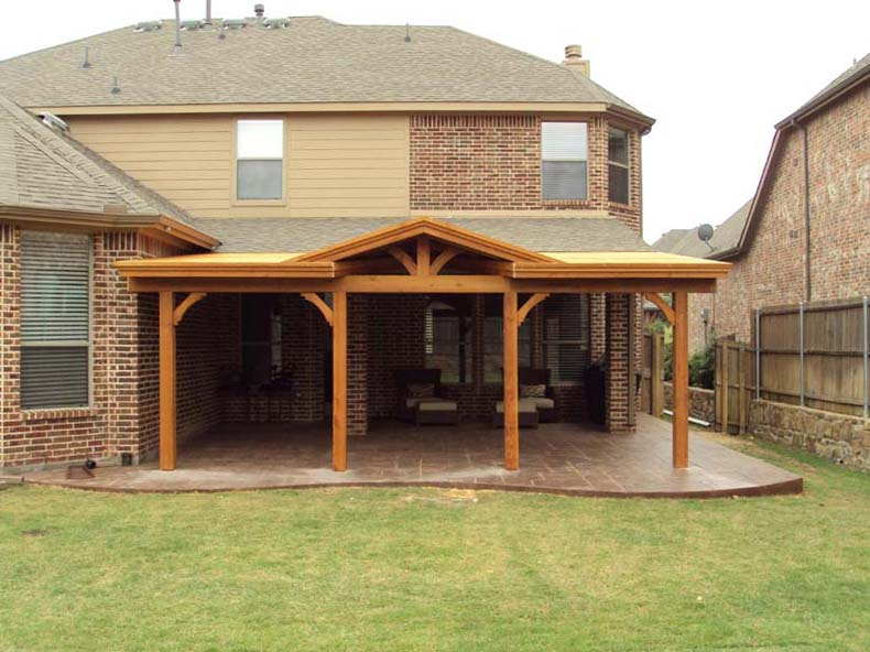 Long Patio Cover With Gable Attached To Fascia Hundt