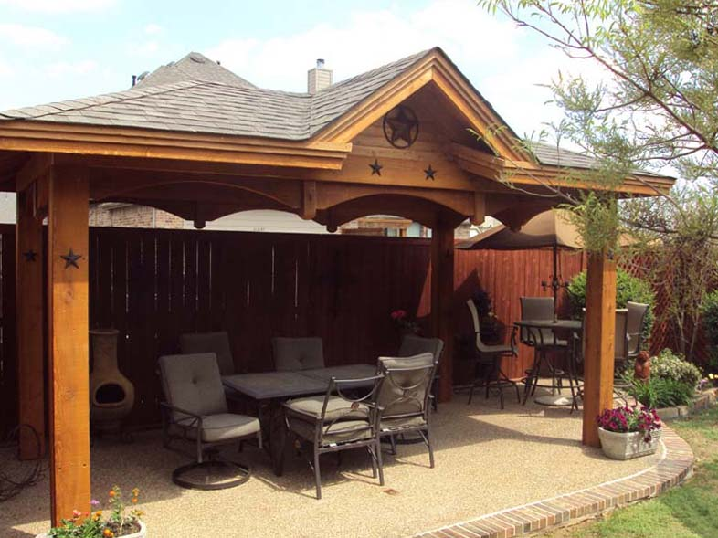 Freestanding patio cover with single gable hundt patio for Freestanding patio cover