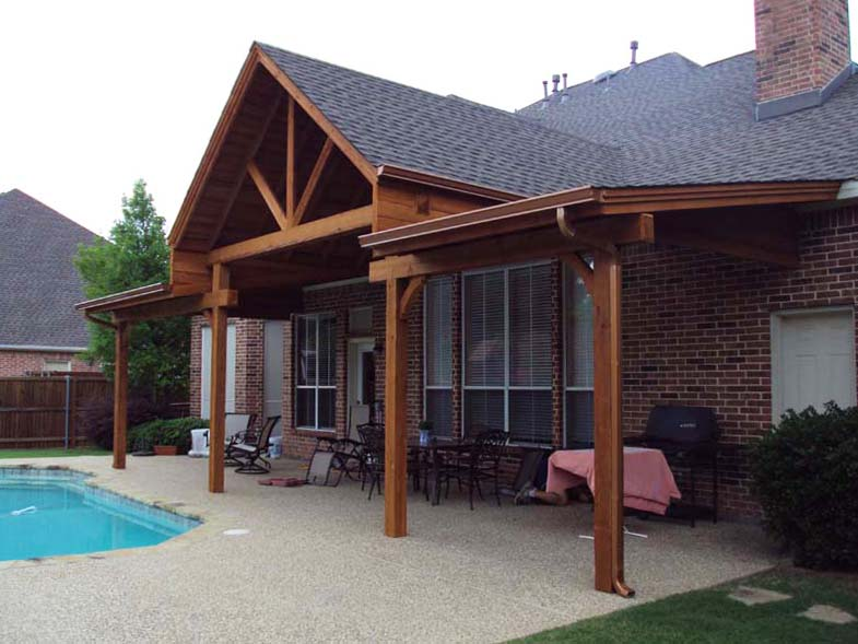 Large Shingled Poolside Cover With Gable And Sloped Sections