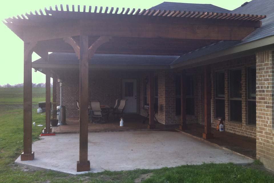 Large Corner Arbor Over New Patio In Howe Texas Hundt