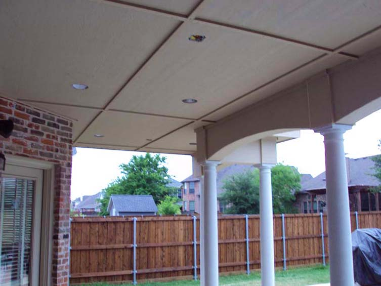 Large Painted Shingled Patio Cover With Ceiling And Lights