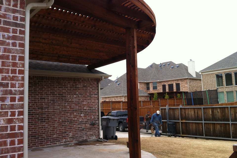 Large Rounded Quarter Round Arbor Over Patio In Allen Texas