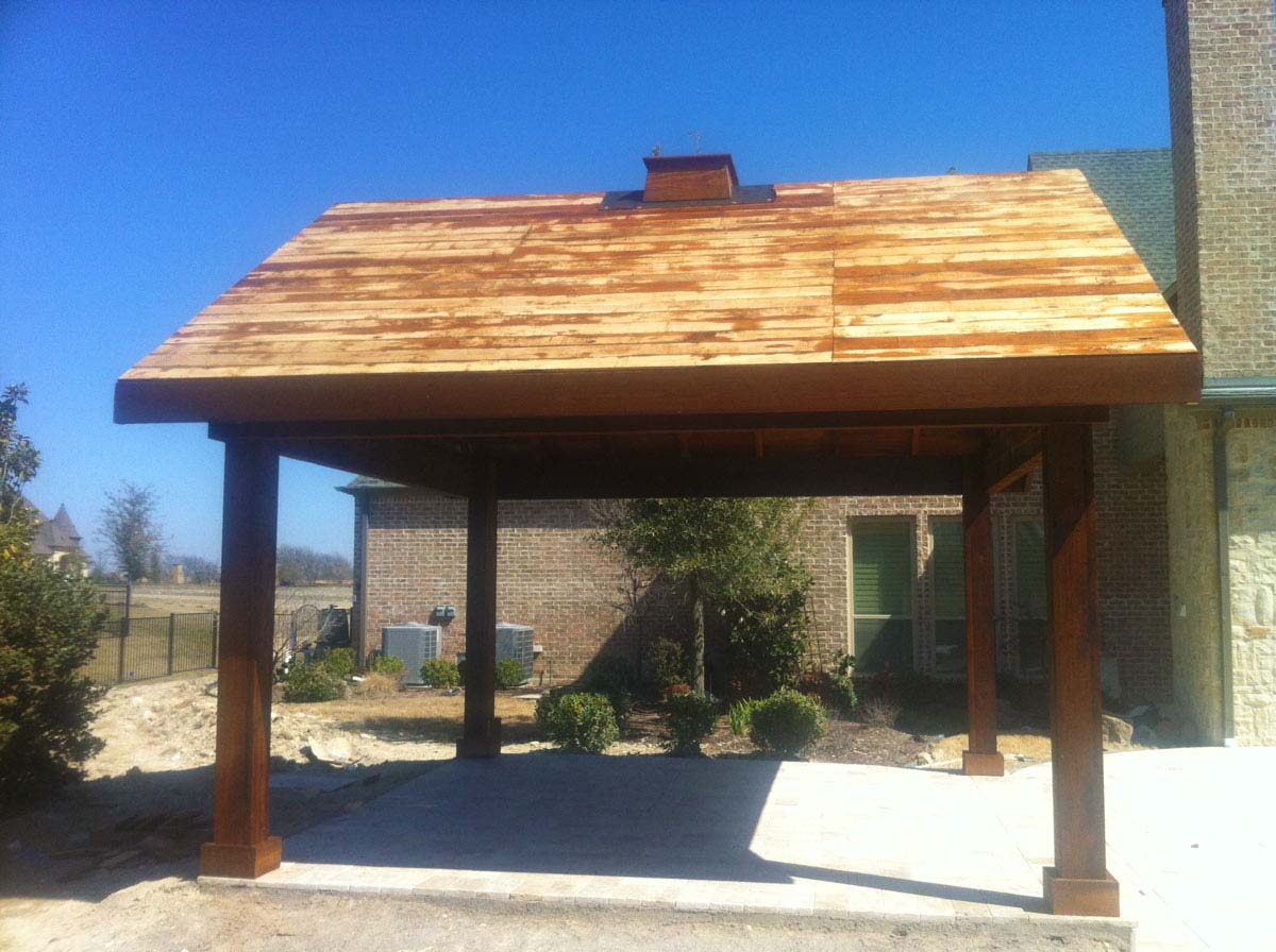 Freestanding gable to gable patio cover in fairview texas for Freestanding patio cover
