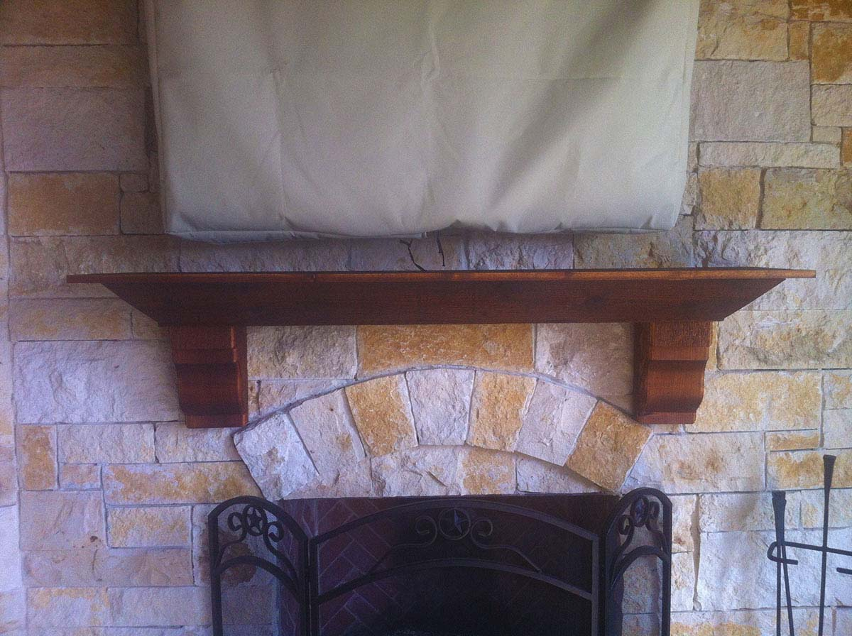custom outdoor fireplace mantel in mckinney texas hundt patio covers and decks. Black Bedroom Furniture Sets. Home Design Ideas