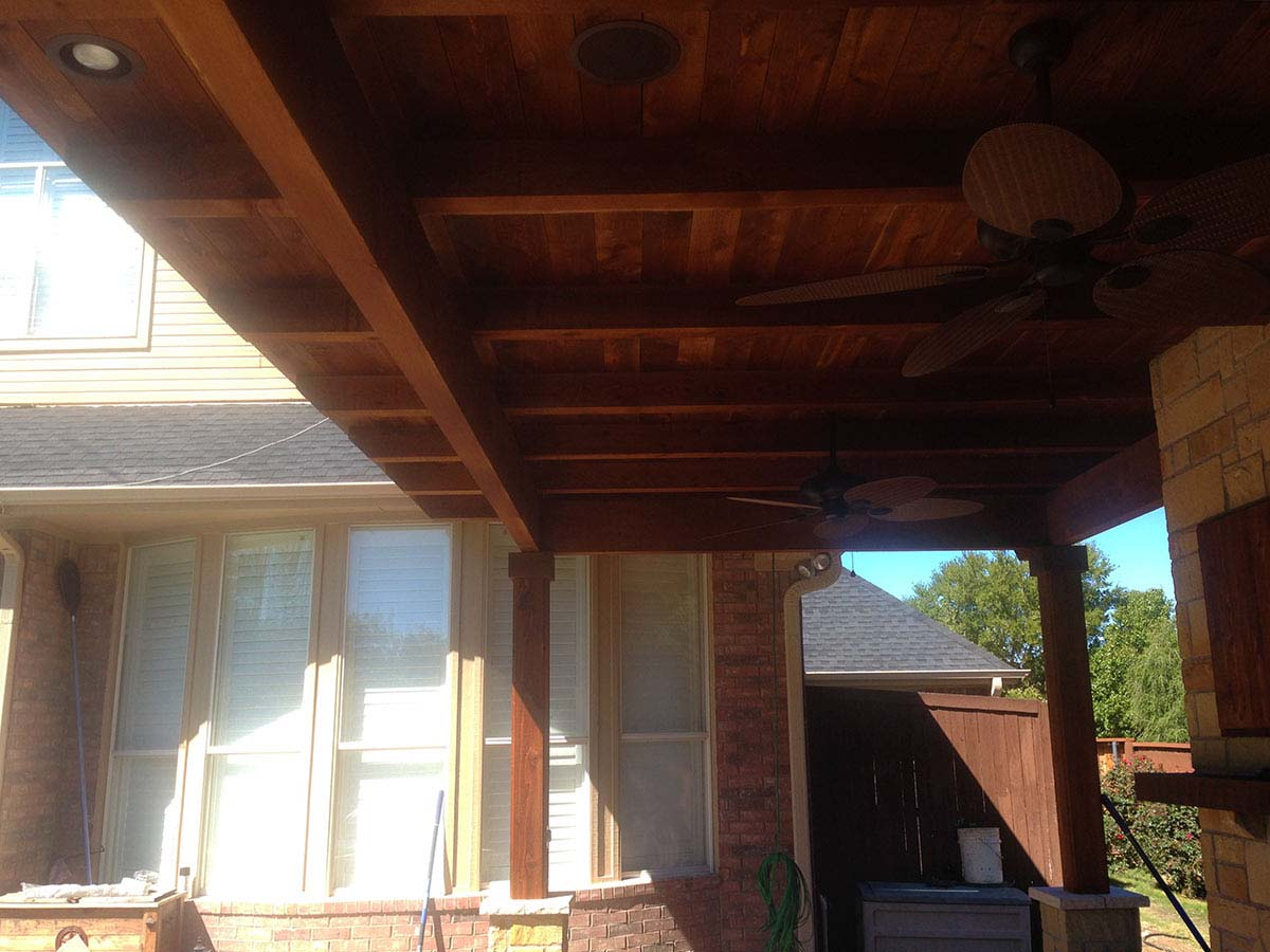 Large Custom Patio Cover With Fans And Kitchen In McKinney Texas