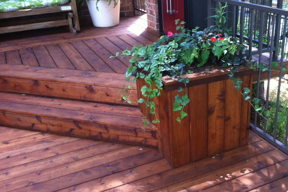 Split Level Detailed Patio Deck With Planters In Plano - Hundt ...