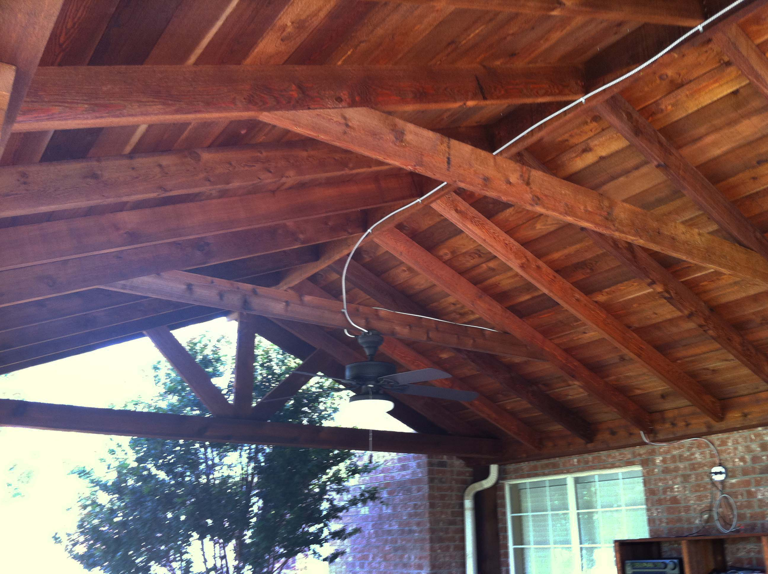 Large Backyard Patio Cover With Ceiling Fans Van Alstyne Hundt - Patio ceiling fans