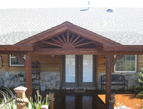 Roofed Backyard Patio Cover with Sunburst
