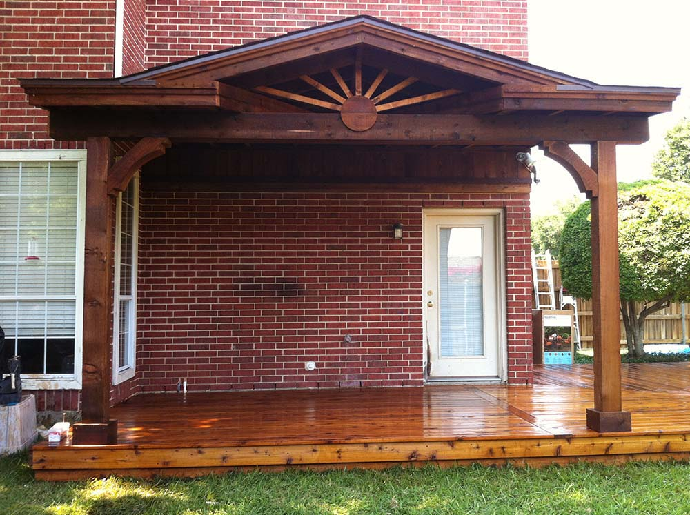 Small Ornate Patio Cover And Deck In Kingston Oklahoma