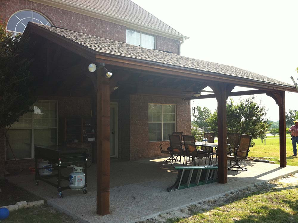 Large Backyard Patio Cover with Ceiling Fans: Van Alstyne ... on Backyard Patio Cover  id=27609