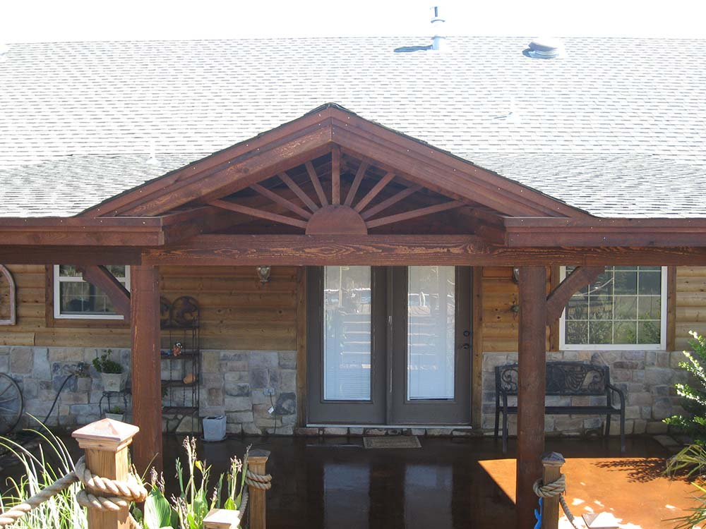 Roofed Backyard Patio Cover with Sunburst - Hundt Patio ... on Backyard Patio Cover  id=13692