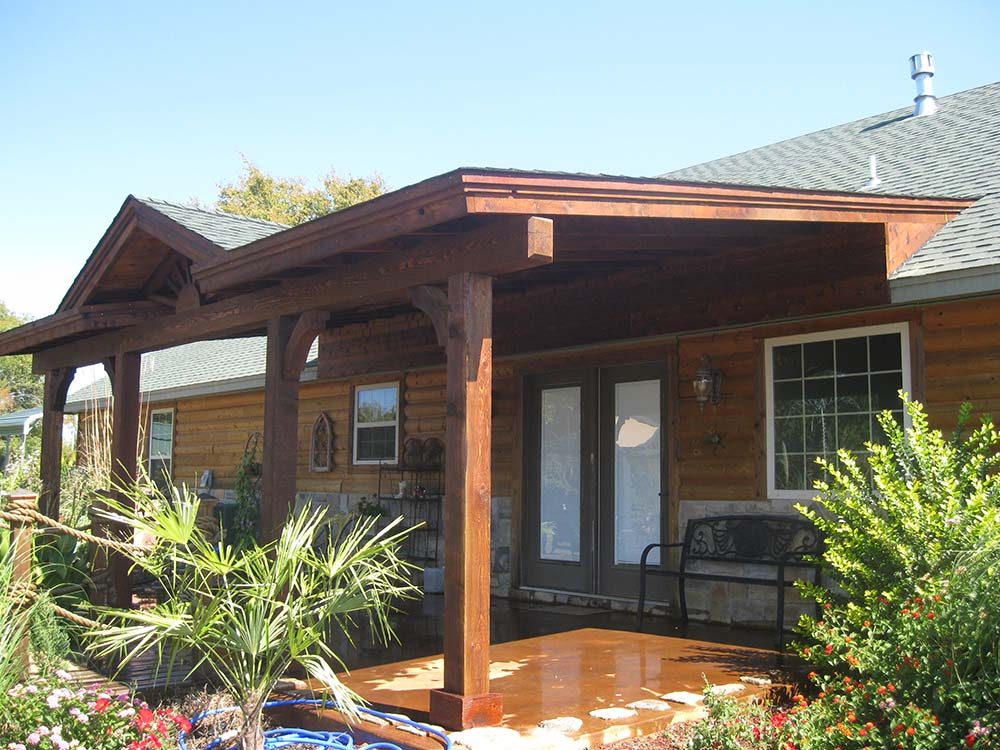 Roofed Backyard Patio Cover with Sunburst - Hundt Patio ... on Covered Back Deck Ideas id=28859