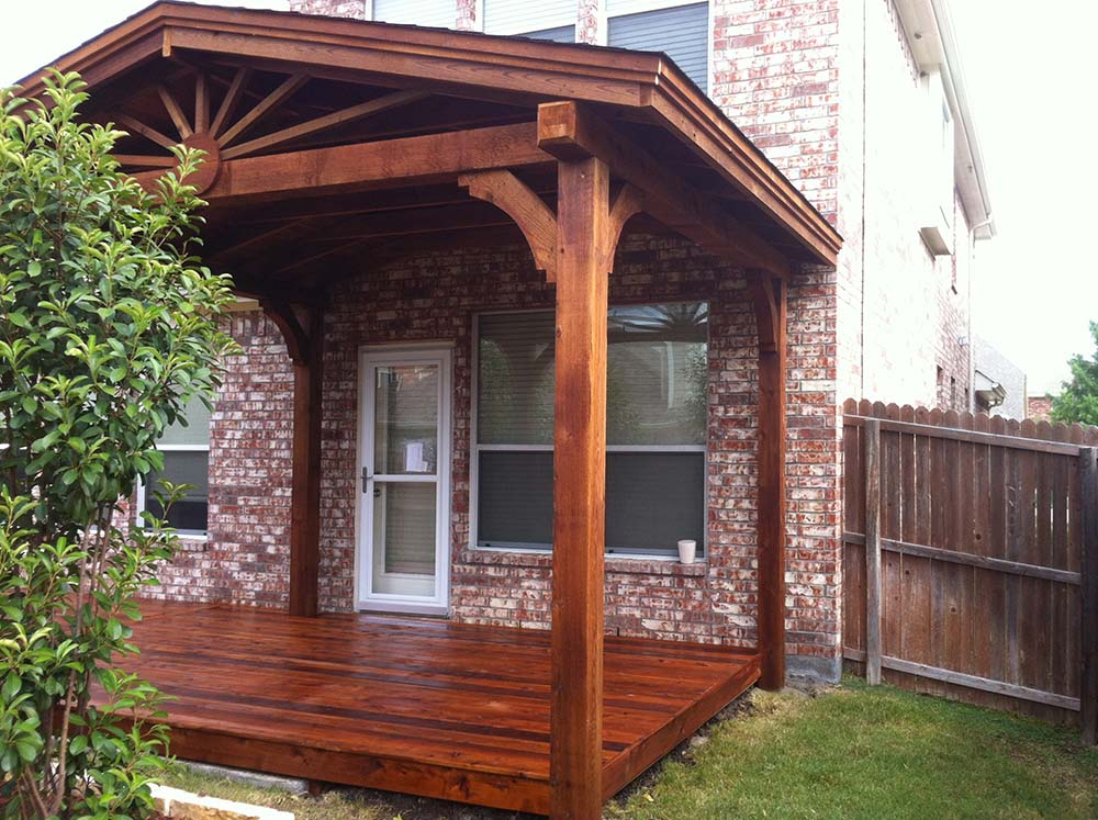 Shingled Patio Cover With Deck Extending Beyond Patio ... on Backyard Patio Covers  id=82744